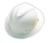 MSA WHITE FULL BRIM SLOTTED HARD HAT WITH RATCHET SUSPENSION - 475369