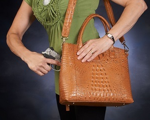 Luxurious leather tote is best way to hide your concealed pistol