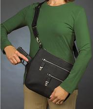 Classic over-the-shoulder concealed carry handbag