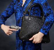 Lovely Rose pattern design in lambskin for excellent concealed carry handbag