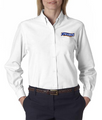 Cinnabon Ladies Long Sleeve White Oxford Shirt with Logo