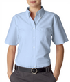 Cinnabon Ladies Short Sleeve Blue Oxford Shirt - No Logo