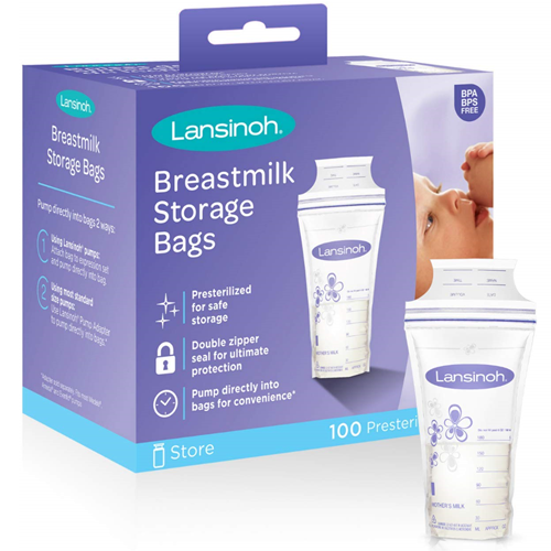 Lansinoh Breastmilk Storage Bags 100 Count Breast Milk Freezer Sterilized