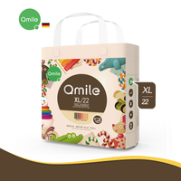 Qmile - Ultra-thin Breathable Organic Diaper, Extra Large Size 22pcs (XL/22) 12-18kg