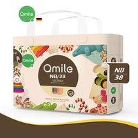 Qmile - Ultra-thin Breathable Organic Diaper, Newborn Size 38pcs (NB/38) 0-5kg