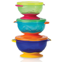 Nuby - Stackable Suction Bowl With Lids (3 Count)