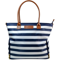 Sarah Wells - Abby Breast Pump Bag, Real Leather Straps (Navy Striped)