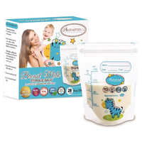 Autumnz - Double ZipLock Breastmilk Storage Bag, 28 bags *5oz* (ZEBRA)