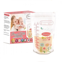 Autumnz - Double ZipLock Breastmilk Storage Bag, 28 bags *12oz* (FLOWER & BIRD)
