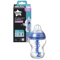 Tommee Tippee - Advanced Anti-Colic Bottle With Slow Flow Teat 260ml/9oz, Boy (1 Count)