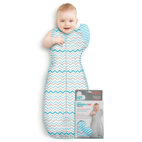 Love To Dream - Swaddle Up 50/50, Aqua Zig Zag (XL 11-14kg/24-30.5lbs)