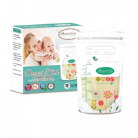 Autumnz - Double ZipLock Breastmilk Storage Bag, 28 bags *7oz*  (FLOWER & BIRD)