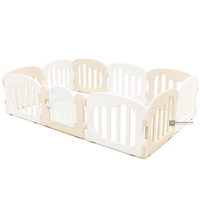 IFAM - Natural Baby Play Yard with Door Set, White+Beige (10pcs 220x148cm)
