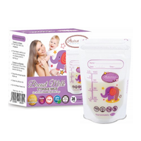 Autumnz - Double ZipLock Breastmilk Storage Bag, 28 bags *3.5oz* (ELLIE ELEPHANT)