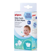 Pigeon Baby Tooth & Gum Wipes 100% Food Grade Ingredients, 20 Packs (Natural)