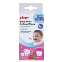 Pigeon Baby Tooth & Gum Wipes 100% Food Grade Ingredients, 20 Packs (Strawberry)