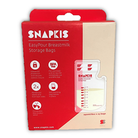 Snapkis Easy Pour Breastmilk Storage Bags 240ml, 25 Bags (buy 1 get 1 FREE)