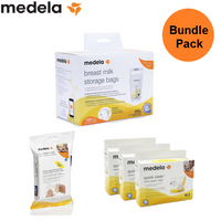 Medela Bundle pack - Storage bag 100 bags + Quick Clean Wipes 24 Sheets + 3 Boxes of Quick Clean Micro-Steam Bags (15 count)