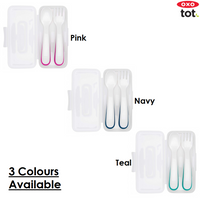 Oxo Tot On-The-Go Plastic Fork & Spoon Set With Travel Case (3 Colours)
