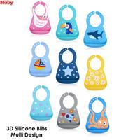 Nuby Fun 3D Silicone Bibs (Multi Design)