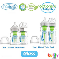 Dr. Brown's Options+ Wide Neck Glass Bottle Clear (2 pack)