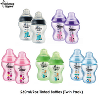 Tommee Tippee Closer to Nature Tinted Bottles, 260ml/9oz Twin Pack (5 Colours)