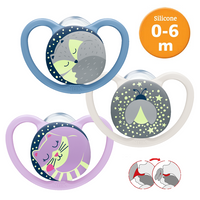 NUK Space Night Silicone Soother / Pacifer Baby Glow in the Dark S1/S2/S3 (Multi Design)