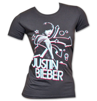 Justin Bieber 3D Dark Gray Juniors Graphic TShirt