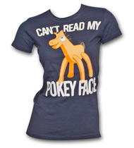 Gumby Can't Read My Pokey Face Navy Blue Juniors Graphic TShirt