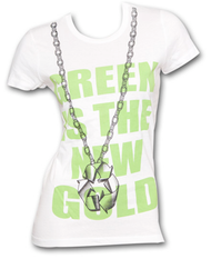 Environmental Eco Green Is The New Gold White Ladies Graphic Tee Shirt