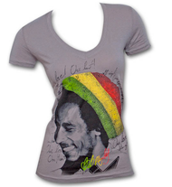 Bob Marley Rasta Tam Grey V-Neck Juniors Graphic Tee Shirt