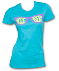 Justin Bieber Glasses Turquoise Womens Graphic T Shirt