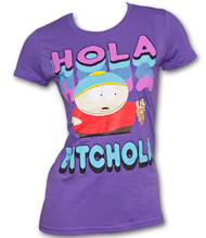 South Park Cartman Hola Bitchola Purple Juniors Graphic TShirt