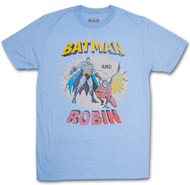Batman And Robin Comic Retro Heather Blue Graphic T Shirt