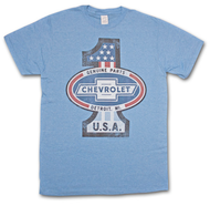 Chevrolet Chevy Number One Heaether Blue Graphic Tee Shirt