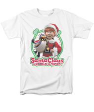 Mens Santa Claus is Coming To Town Penguin Tee Shirt