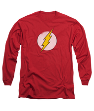 Mens The Flash Rough Logo Retro Long Sleeve Tee Shirt
