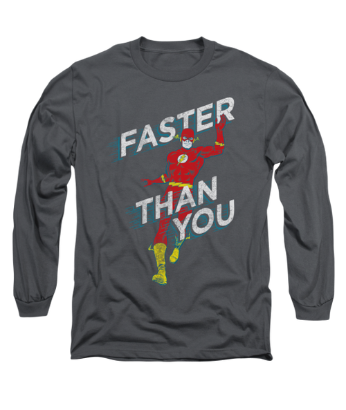 Mens The Flash Faster than You Retro Long Sleeve Tee Shirt