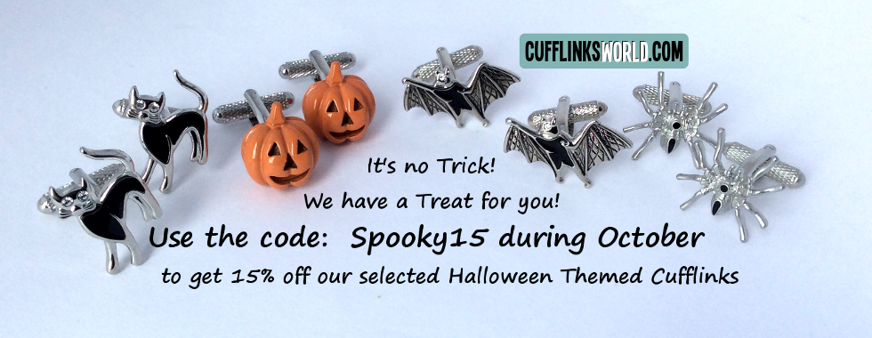No tricks, just a treat for you from Cufflinks Woirld this October with 15% off selected spooktacular cufflinks!