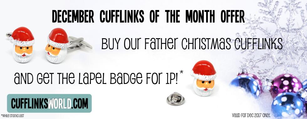 Santa Lapel Pin Badge for Just 1p - when you buy our Santa Cufflinks