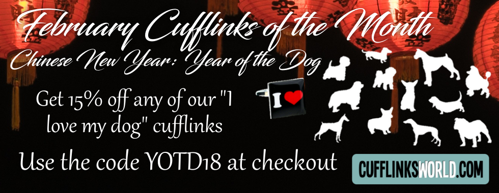 Use the code: YOTD18 to get 15% off I Love My Dog Cufflinks in February.