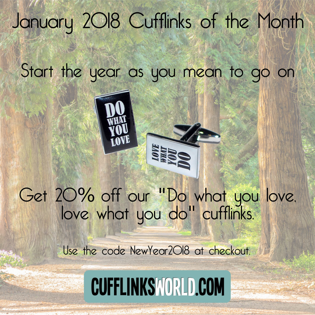 Set the New Year off well with 20% discount on our inspiration Cufflinks