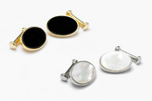 Stylish oval cufflinks available in Black Onyx or Mother of Pearl