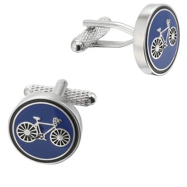 Blue bicycle cufflinks