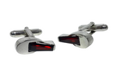 Stirling Silver Cufflinks with Garnet Coloured Cubic Zirconia