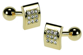 Gilt Crystal with solid bar cufflinks