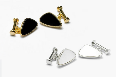 Black Onyx and gilt or Mother of Pearl and rhodium round edged triangle cufflinks
