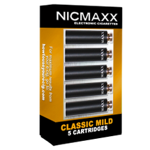 Five Pack of NICMAXX Classic Mild  *PG Electronic Cigarette Cartridges  The Classic Mild is a full flavor premium rechargeable electronic cigarette with the look, feel, flavor and nicotine delivery of a traditional Light, filtered, full flavored, Cigarette, but without the tobacco smoke. Instead it emits a flavorful but odorless vapor. It provides everything you like about smoking without the things you don't. No tobacco smoke or cigarette smell.