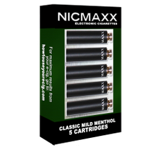 "Five Pack of NICMAXX ""Classic Mild Menthol"" Rechargeable  *VG  Electronic Cigarette Cartridges  The Classic Mild Menthol is a full flavor premium electronic cigarette cartridge with the look, feel, flavor and nicotine delivery of a traditional light, filtered, full flavored, Menthol Cigarette, but without the tobacco smoke. Instead it emits a flavorful but odorless vapor. It provides everything you like about smoking without the things you don't. No tobacco smoke or cigarette smell."