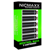 "Five Pack of NICMAXX ""menthol maxx"" flavored electronic cigarette cartridges in neon green packaging."